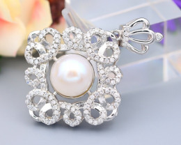 Pearl Natural Solid 925 Sterling Silver White Gold Finish Pendant RM50