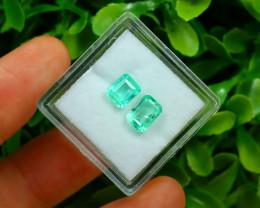 Muzo 1.76Ct 2Pcs Natural Colombian Green Color Muzo Emerald A2121