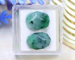 Jadeite Jade 14.01Ct 2Pcs Master Cut Natural Burmese Jadeite Jade C2103
