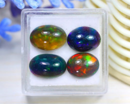 Opal 6.90Ct 4Pcs Natural Flash Color Ethiopian Welo Black Smoked Opal C2104