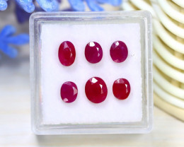 Mogok Ruby 3.34Ct 6Pcs Oval Cut Natural Burmese Mogok Red Ruby C2109