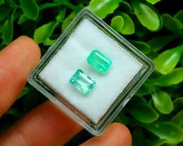 Muzo 1.70Ct 2Pcs Natural Colombian Green Color Muzo Emerald C2124
