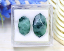 Jadeite Jade 10.52Ct 2Pcs Master Cut Natural Burmese Jadeite Jade C2125