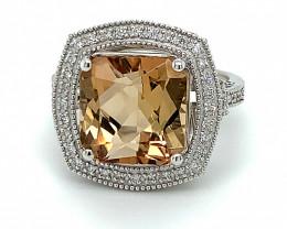 Precious Topaz 8.90ct Natural Diamonds Solid 950 Platinum Ring