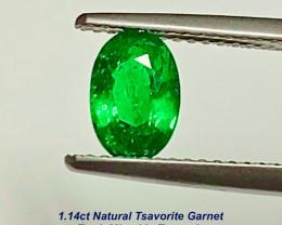 1.14ct Tsavorite Garnet - Vivid Green / Tanzania. 7.7 x 5.3mm