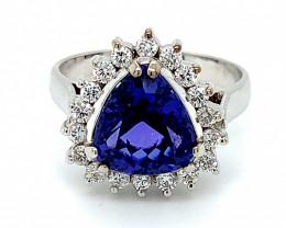 High Grade Tanzanite 4.01ct Natural Diamonds Solid 18K White Gold Ring