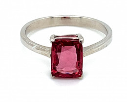 Red Mogok Spinel 1.52ct Solid 14K White Gold Ring