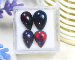 Opal 6.45Ct 4Pcs Natural Flash Color Ethiopian Welo Black Smoked Opal B2208