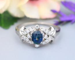 Sapphire 1.23Ct VS2 Natural Madagascar Parti Sapphire Silver Ring B2214