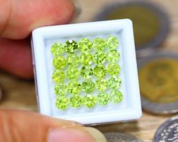 7.98ct Natural Green Peridot 4.0mm Round Cut Lot V8188