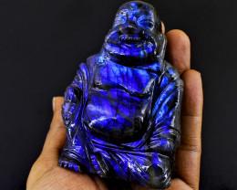 Genuine 1285.00 Cts Blue Flash Labradorite Laughing Buddha