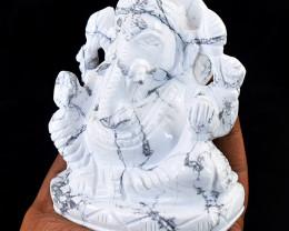 Genuine 2695.00 Cts Howlite Carved Ganesha Idol