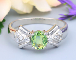 Sapphire 0.79Ct VS Natural Green Sapphire Silver Ring R01