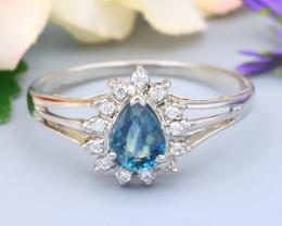 Sapphire 0.52Ct VS Natural Blue Sapphire Silver Ring R13
