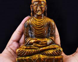 Genuine 2216.00 Cts Tiger Eye Carved Buddha Idol