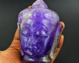 Genuine 2740.00 Cts Amethyst Carved Buddha Head