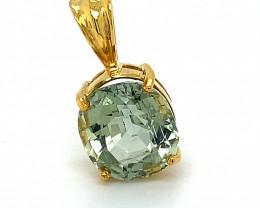 Mint Green Tourmaline 6.50ct Solid 14K Yellow Gold Pendant