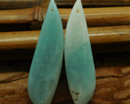 Green long amazonite earring pairs (G2978)