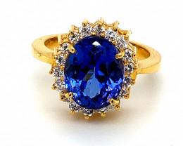High Grade Tanzanite 5.01ct Natural Diamonds Solid 22K Yellow Gold Ring