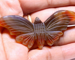 61.50 CTS AGATE BUTTERFLY CARVING  LT-708  lightningtreasures