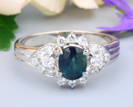 Sapphire 1.04Ct VS Natural Blue Sapphire Natural Silver Ring R42