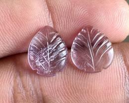 2Pcs Leaf Carved Amethyst 100% Natural + UnTreated VA1299