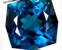 2.74Cts Sparkling Natural London Blue Topaz Cushion Custom Cut