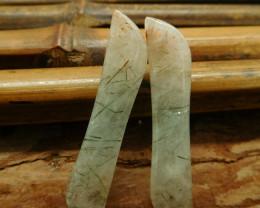Green rutile quartz cabochon drilled pendant (G3000)