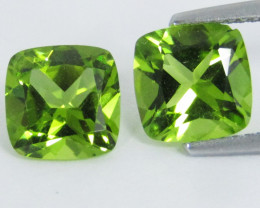 4.64Cts Genuine Excellent Natural Peridot 8mmCushion Cut Matching Pair