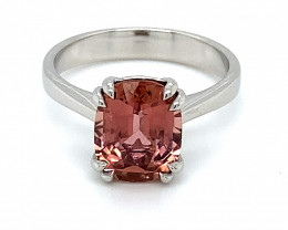 Rubellite 4.30ct Solid 14K White Gold Ring