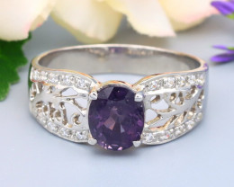 Spinel 1.22Ct Oval Cut Natural Burmese Purple Spinel Silver Ring R61