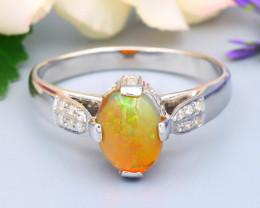 Welo Opal 0.82Ct Natural Ethiopian Rainbow Flash Welo Opal Silver Ring R62