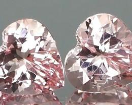 *Bidding Starts $15NR* Heart Shape Pink Morganite Pair 3.12Ct.