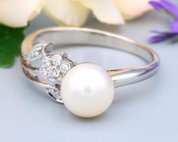 8.1mm 3.80Ct Australian South Sea Creamy White Pearl Silver Ring R68