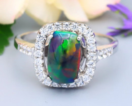 Opal 1.35Ct Natural Flash Color Welo Black Smoked Opal Silver Ring R74