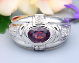 Spinel 1.19Ct Oval Cut Natural Burmese Purple Spinel Silver Ring R76