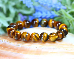 12.0mm 216.00Ct Natural Tiger Eye Beads Bracelet ST990