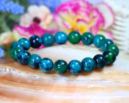 10.0mm 139.00Ct Natural Chrysocolla Beads Bracelet ST1000