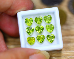 7.69ct Natural Green Peridot Heart Cut Lot V8189