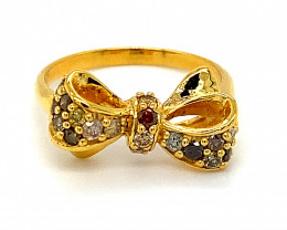 Fancy Colored Diamonds 1.15ct Solid 14K Yellow Gold Bowtie Ring