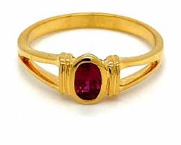 Mozambique Ruby .40ct Solid 18K Yellow Gold Ring