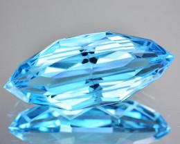 13.68 Cts Natural Jewelry Grade Pretty Blue Topaz Marquies Custom Cut Ref V