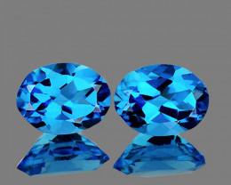 9x7 mm Oval 2 pcs 4.58cts Swiss Blue Topaz [VVS]