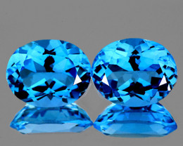 9x7 mm Oval 2 pcs 4.56cts Swiss Blue Topaz [VVS]