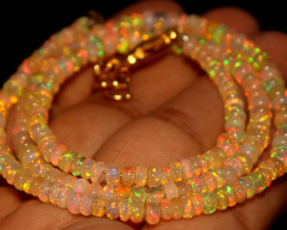 32.75 Crts Natural Ethiopian Welo Opal Beads Necklace 805