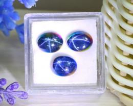 Blue Star Sapphire 10.62Ct 3Pcs Natural 6 Rays Blue Star Sapphire B2407