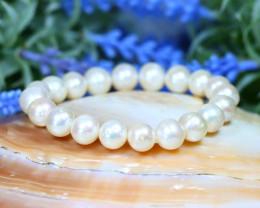 10.0mm 127Ct Australian South Sea Creamy White Pearl Bracelet B2419