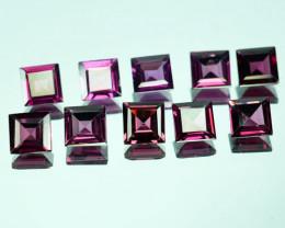6.74 Cts Natural Pinkish Red Rhodolite Garnet Princess Cut  10 Pcs Mozambiq
