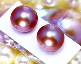 11.10mm 19.40Ct 2Pcs Natural Tahitian Aubergine Color Pearl DR597/A244