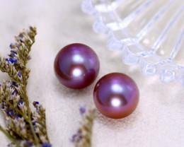 11.00mm 19.00Ct 2Pcs Natural Tahitian Aubergine Color Pearl  ER569/A244